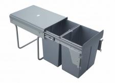 Výsuvný odpadkový 2-koš s úchyty dvířek, 2x20 l, K40-šedý plast
