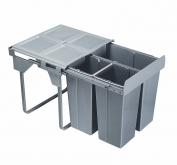 Výsuvný odpadkový 3-koš Komfort + set pro úchyt dvířek, 1x34 l + 2x17 l
