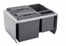 Odpadkový koš CUBE 600 3x12L+1x3L, K60 šedý plast