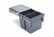 Výsuvný odpadkový 2-koš s úchyty dvířek, 2x16l, K40 - šedý plast