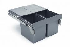 Výsuvný odpadkový 2-koš s úchyty dvířek, 2x27 l, K60-šedý plast