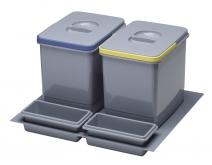 Odpadkový koš do šuplíku 600, 2x15L - K60 - šedý plast