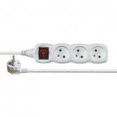 Prodlužovací kabel s vypínačem 3 zásuvky, 5m, bílý