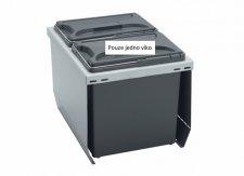 Odpadkový koš CUBE 400, 2x12 l, víko 1x, K40 - šedý plast IT
