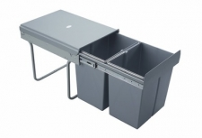 Výsuvný odpadkový 2-koš, 2x20 l, K40-šedý plast