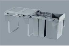 Výsuvný odpad. 3-koš Komfort s úch. dvířek 1x20+2x10L  šedý